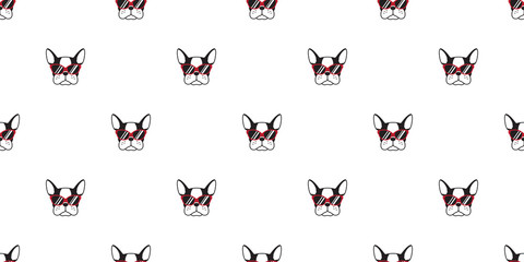 dog Seamless Pattern french bulldog face sunglasses vector isolated wallpaper background