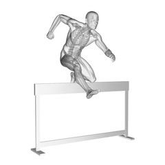 Person hurdling, skeletal system, illustration