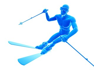 Person skiing, illustration