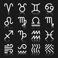 Zodiac Signs monochrome silhouette icon set