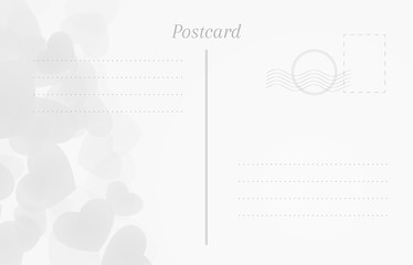Festal postcard. Blank postal card with hearts