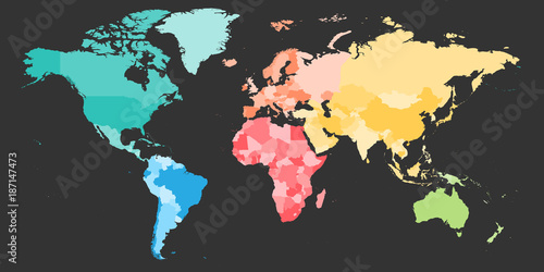 Colorful Political Map Of World Divided Into Six Continents Blank - Six continents of the world