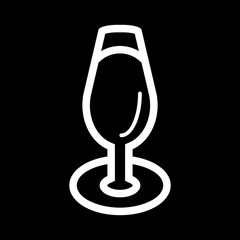 wine glass vector icon. Isolated on black