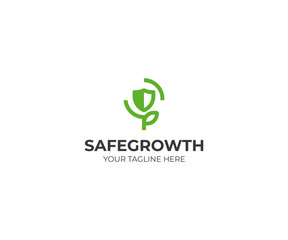 Shield and Sprout Logo Template. Eco Protect Vector Design. Security Illustration