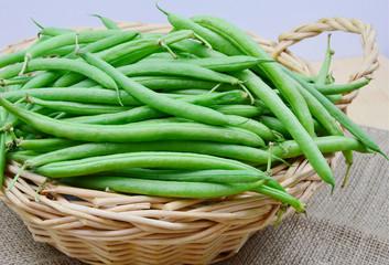 beans in wooden basket
