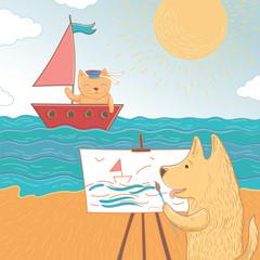 Vector illustration of a summer holiday at sea