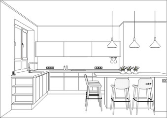 3D vector sketch. Modern kitchen design in home interior. Kitchen sketch with decorations and appliances. There is also a kitchen island in the room. Home Interior Design Software Programs.