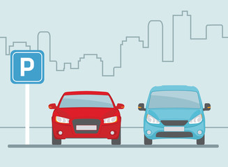 Parking lot with two cars on light blue background.. Flat style, vector illustration.