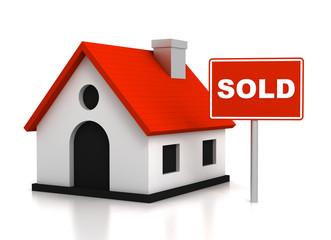 sold house concept       3d illustration