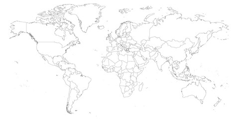 Blank outline map of World. Worksheet for geography teachers usable as geographical test in school lessons.