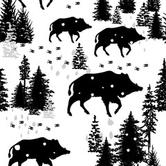 Seamless pattern with wild boars