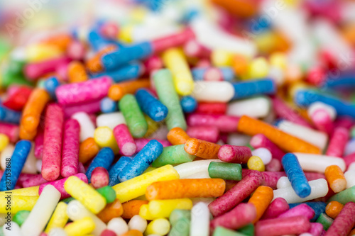 Closeup of a pile of colourful sugar sprinkles (cake decor