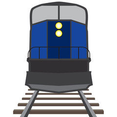 A train is coming down the tracks toward the viewer