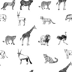 Seamless vector pattern of hand drawn sketch style animals. Vector illustration isolated on white background.