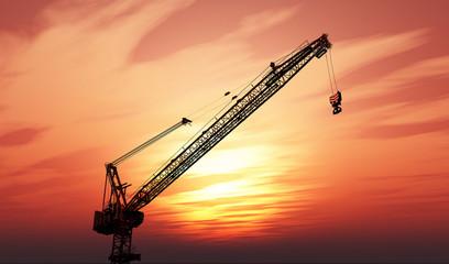 3D crane against a sunset sky