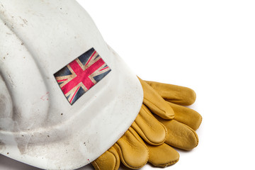 Construction Workers Hard Hat and Gloves showing badge of the  flag of Great Britain