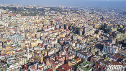 Aerial view of the hill and residential district of Vomero in Naples, Italy. Many are the buildings built in the narrow streets of the city.