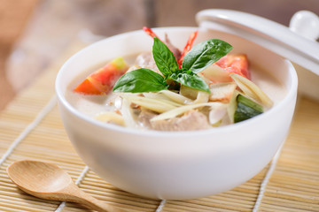 Thai food (Tom Kha Kai), Thai coconut milk soup with chicken