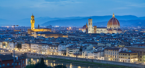 After sunset view of Cathedral Santa Maria del Fiore. Florence, Italy,Panorama in twilight.selective focus