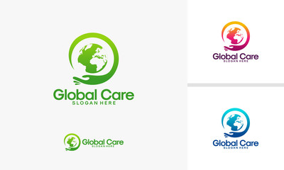 Global Care logo designs vector, World Charity logo template
