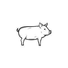 Vector hand drawn Pig outline doodle icon. Pig sketch illustration for print, web, mobile and infographics isolated on white background.