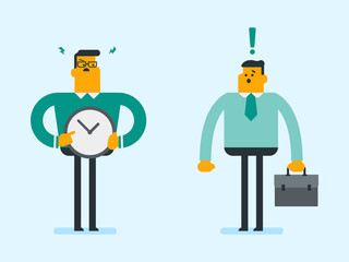 Young angry caucasian white employer pointing to time on the clock. Employer checking the time of coming to work his employee. Concept of late to work. Vector cartoon illustration. Square layout.