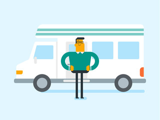 Full length of young caucasian white man standing on the background of motorhome. Man enjoying his vacation in a camper van. Tourism and vacation concept. Vector cartoon illustration. Square layout.