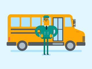 Full length of young cheerful caucasian white school bus driver in uniform standing on the background of yellow bus. Vector cartoon illustration. Square layout.