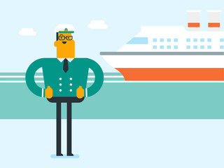 Young smiling caucasian white male ship captain in uniform standing on the background of sea and cruise ship. Vector cartoon illustration. Square layout.