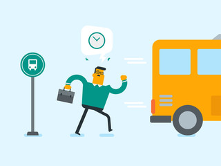 Caucasian white businessman running for an outgoing bus. Young man chasing a bus. Latecomer man running to reach a bus. Vector cartoon illustration. Square layout.