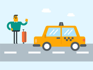 Young caucasian white man with s suitcase catching a taxi car by waving hand. Hitchhiking man trying to stop a taxi car on a highway. Vector cartoon illustration. Square layout.