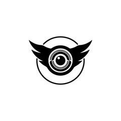 Eye and wings shaped logo