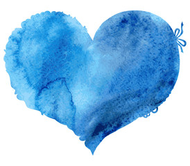 Watercolor blue heart. Vector illustration