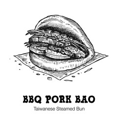 Hand drawn bbq pork bao isolated on white background, Vector