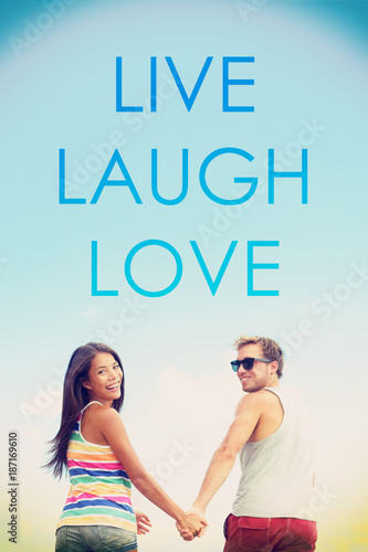 LIVE LAUGH LOVE Inspirational Message Written On Background For Social  Media Design. Happy Carefree Woman