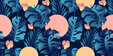 Tropical plant seamless pattern, Heliconia, palm, Anthurium and split leaf Philodendron in blue tone