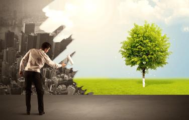 Salesman painting tree instead of city