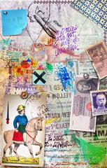 Deurstickers Imagination Sfondo con collage,manoscritti misteriosi,carte da gioco,banconote,vecchi francobolli disegni e graffiti astrologici,alchemici ed esoterici.