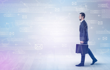 Businessman walking with mail concept around