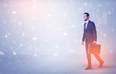 Man walking with online community wallpaper