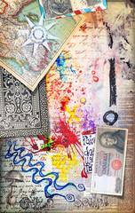 Deurstickers Imagination Murale con graffiti,collage,vecchie mappe,disegni,carte da gioco,francobolli e banconote antiche