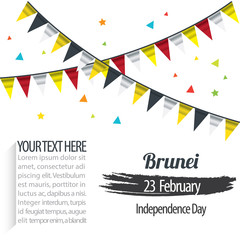 Independence Day of Brunei Design Illustration Template. 23 February