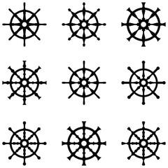 ship wheel icon set