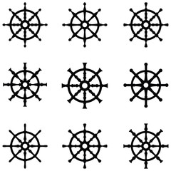 ship wheel icon set