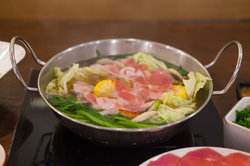 Shabu shabu in hot pot