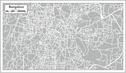 Bangalore India City Map in Retro Style.