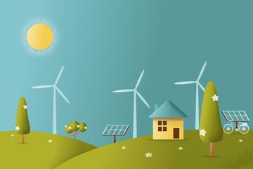 eco friendly house Vector illustration.
