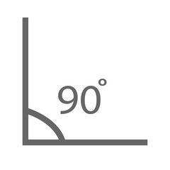 angle icon. angle 90 degrees icon on white background. geometry math symbol. angle 90 degrees sign.