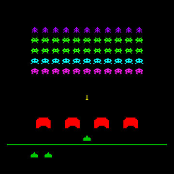 Game with space, invaders, aliens. Ufo arcade game template. Vector Illustration.