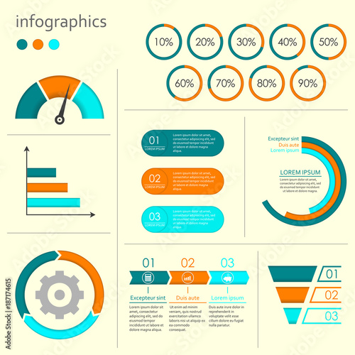 Infographics set with charts graphs step by step arrows circle infographics set with charts graphs step by step arrows circle chart cycle ccuart Image collections